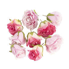 Rose Heads Loose 9 Pack Mixed Pinks