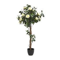 Artificial Trees - Artificial Topiary Tree Rose Potted White (130cmH)
