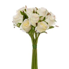 Artificial Rose Bouquets - Katie Rose Bouquet with 16 Flowers Champagne/Cream (25cmH)