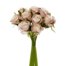 Artificial Rose Bouquets - Katie Rose Bouquet with 16 Flowers Cream Pink (25cmH)