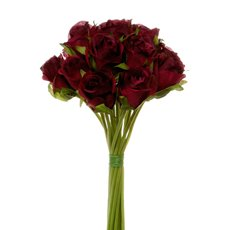 Artificial Rose Bouquets - Katie Rose Bouquet with 16 Flowers Dark Red (25cmH)