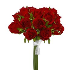 Artificial Rose Bouquets - Katie Rose Bouquet with 16 Flowers Bright Red (25cmH)
