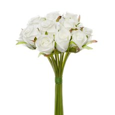 Artificial Rose Bouquets - Katie Rose Bouquet with 16 Flowers White (25cmH)