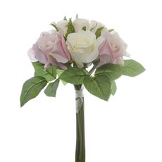 Artificial Rose Bouquets - Georgia Rose Bouquet 12 Flowers Light Pink Combo (25cmH)