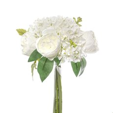 Other Artificial Bouquets - Penny Peony Hydrangea Bouquet White (35cmH)