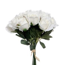 Artificial Rose Bouquets - Lavina Rose Bud Bouquet 18 Heads Cream (33cmH