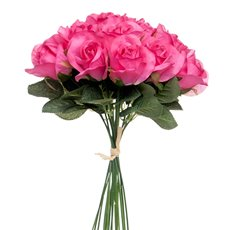 Artificial Rose Bouquets - Lavina Rose Bud Bouquet 18 Heads Hot Pink (33cmH