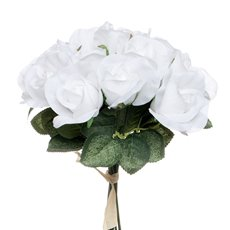 Artificial Rose Bouquets - Lavina Rose Bud Bouquet 18 Heads White (33cmH)