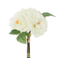 Artificial Rose Bouquets - Garden Rose Bouquet Cream (29cmH)