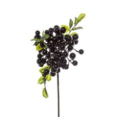 Artificial Berries and Fruits - Berry Cluster Spray Black (35cmH)