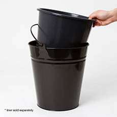 Dutch Flower Bucket Plastic Round 05L 23.5Dx20.5cmH Black
