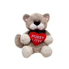 Pussy Love Cat with Heart Grey (30cmHT)