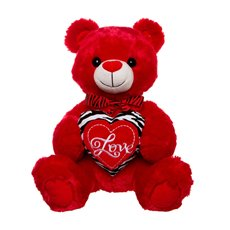 Jungle Love Teddy Bear with Heart Red (33cmST)