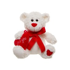 Romeo Teddy Bear with Heart White (25cmST)