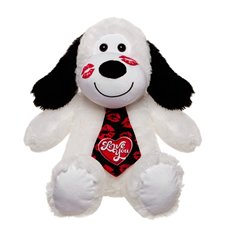 Ronnie Dog with Tie with Heart White (30cmST)