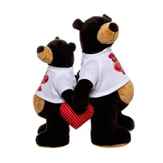 Grizzly Bear Couple with T-Shirt Black (25cm and 30cmH)