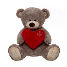 Roberto Teddy Bear with Heart Grey (35cmST)
