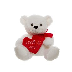 Jackson Teddy Bear with Heart White (25cmST)