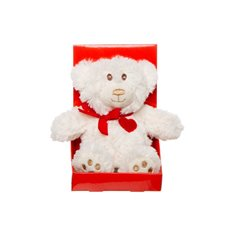 Kiss Teddy Bear with Sound White (11.5cmH)