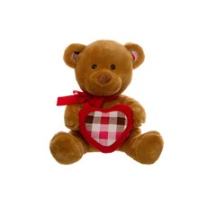 Jack Teddy Bear with Check Heart Brown (20cmST)