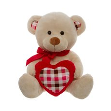 Jack Teddy Bear with Check Heart Beige (30cmST)