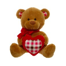 Jack Teddy Bear with Check Heart Brown (30cmST)