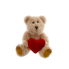 William Teddy Bear with Heart Brown (20cmHT)