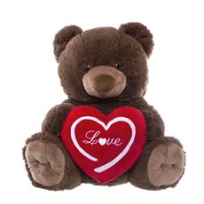 Harry Teddy Bear with Heart Love Dark Brown (54cmST)