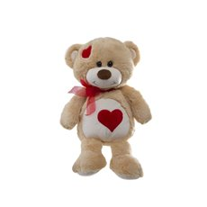 Molly Teddy Bear with Heart Patches Light Brown (26cmST)