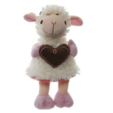 Lola Lamb with Heart Pink (20cmST)