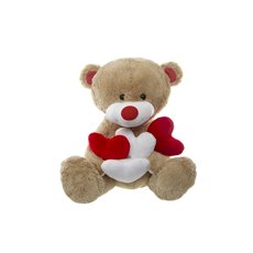 Max Teddy Bear with 4x Hearts Brown (30cmST)