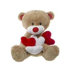 Max Teddy Bear with 4x Hearts Brown(46cmST)