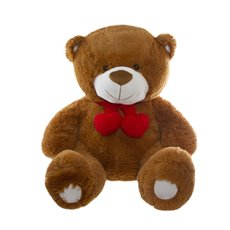 Cuddles Teddy Bear with Hearts and Scarf Brown (52cmST)