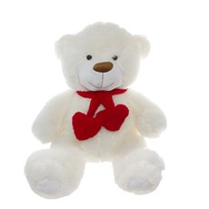 Cuddles Teddy Bear with Hearts and Scarf White (60cmST)
