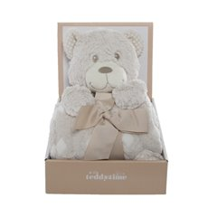 Tilly Teddy Bear Gift Pack with Blanket Beige (25cmH)