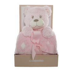 Tilly Teddy Bear Gift Pack with Blanket Pink (25cmH)