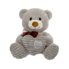Simon Teddy Bear With Heart Grey (24cmST)