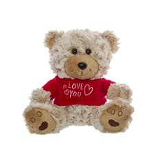 Thomas Teddy Bear with T-shirt Love You Beige (18cmST)