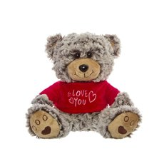 Thomas Teddy Bear with T-shirt Love You Grey (18cmST)