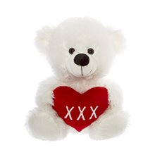 Ricky Teddy Bear with Heart White (30cmST)