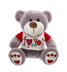 Alex Teddy Bear with T-Shirt Grey (30cmST)