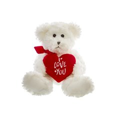 Georgio Teddy Bear with Heart White (19cmST)