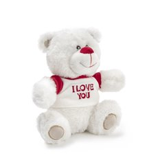 Valentines Teddy Bears - Martin Bear with Tshirt White (20cmST)