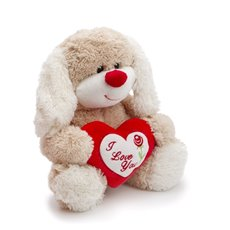 Valentines Teddy Bears - Marco Dog with Holding Heart Beige (25cmST)