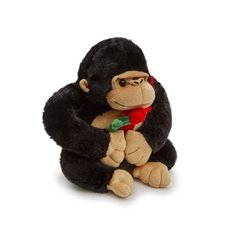Valentines Teddy Bears - Mac Gorilla Carrying A Rose Black (27cmST)