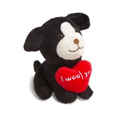 Valentines Teddy Bears - Nolan Dog with Heart Black (14cmST)