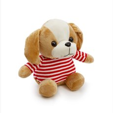 Dog Soft Toys - Hudson Dog with Stripe Shirt Brown (25cmST)