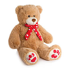 Valentines Teddy Bears - Elijah Bear Brown (66cmHT)