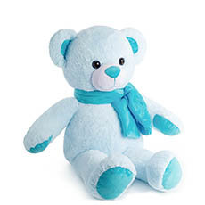 Giant Teddy Bears - Asher Bear with Scarf Baby Blue (60cmHT)