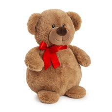 Valentines Teddy Bears - Bella Valentine bear with red ribbon brown  (30cmST)